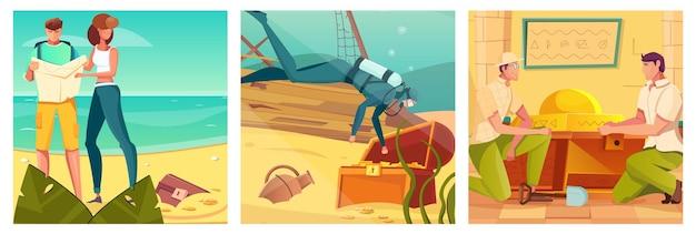 Schatzsuche und quest-set mit expeditionssymbolen flache illustration