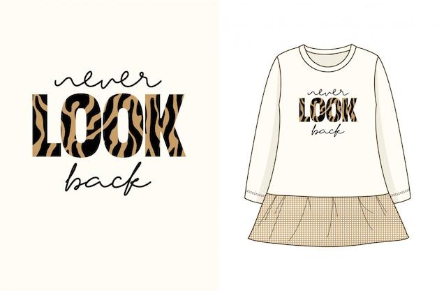 Schau niemals zurück - grafisches t-shirt Premium Vektoren
