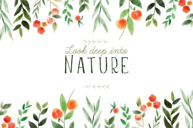 Schau tief in die natur. schriftzug zitat mit floralen thema und blumen