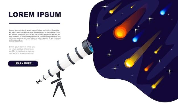 Schauen sie durch die teleskopansicht von meteoren und kometen mit verschiedenen farben und formen