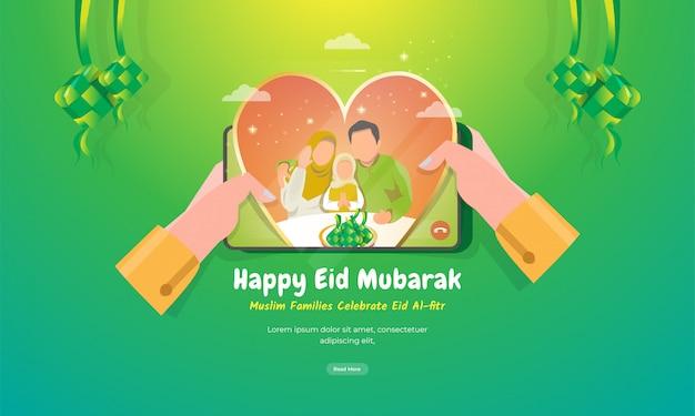 Schauen sie sich verliebte muslimische familien auf dem mobilen bildschirm für das begrüßungskonzept von eid mubarak an