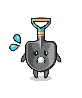 Schaufel-maskottchen-charakter mit ängstlicher geste, süßes design