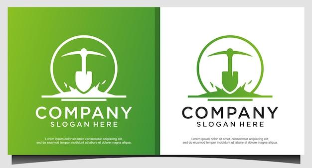 Schaufel-spaten-schaufel mit blumenblatt-pflanze für garten-hinterhof-logo-design