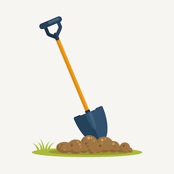 Schaufeln sie in schmutz, spaten mit boden landschaftsbau auf hintergrund. gartengeräte, grabelement, ausrüstung für die landwirtschaft. frühlingsarbeit.