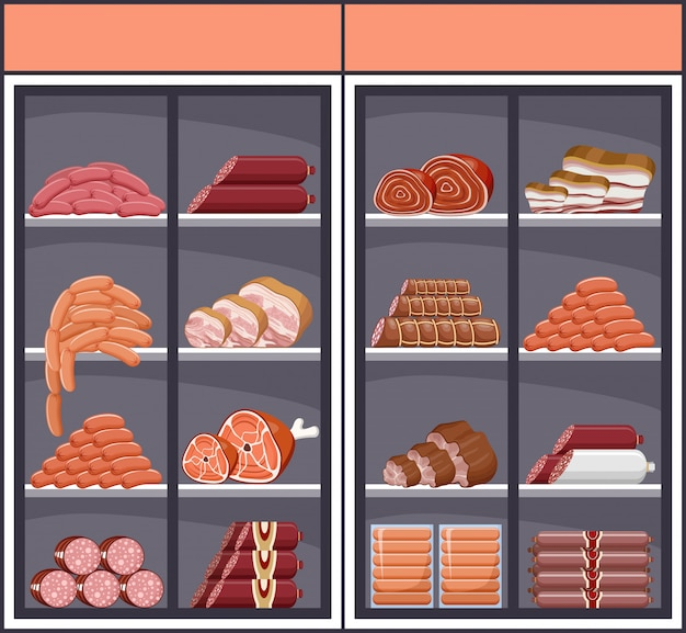 Schaufenster mit fleischprodukten