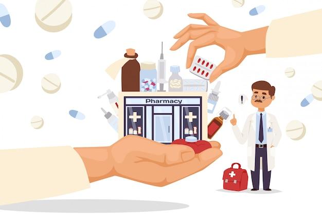 Schaufensterapotheke in großer hand, illustration. gebäude für den verkauf cartoon medikamente, pillen, sprays und tränke.