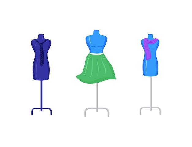 Schaufensterpuppen mit flachem farbgegenstandssatz des kleidungsstücks. reparieren und basteln sie kleidung am modell. modedesigner studio dekor isoliert karikatur