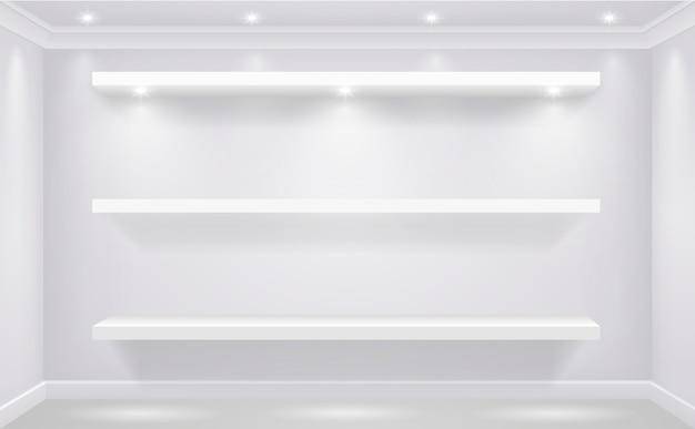 Schaufensterregal für haushaltswaren vor dem hintergrund einer weißen wand des geschäfts beleuchtet. vektorgrafiken