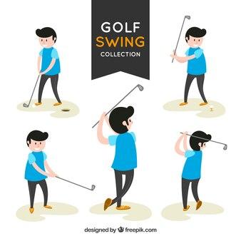 Schaukel golf kollektion mit spielern
