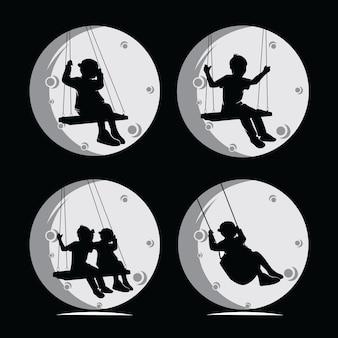 Schaukelndes kindersilhouette-sammlungsset