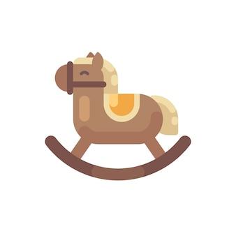 Schaukelpferd flache abbildung. flache ikone des spielzeugpferd weihnachtsgeschenks