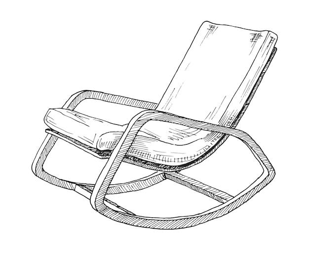 Schaukelstuhl lokalisiert auf weißem raum. skizzieren sie einen bequemen stuhl.