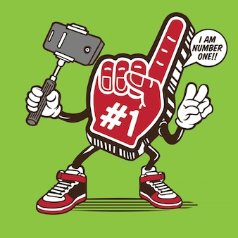 Schaum-handzeichen selfie-charakter-design der nr.-eine