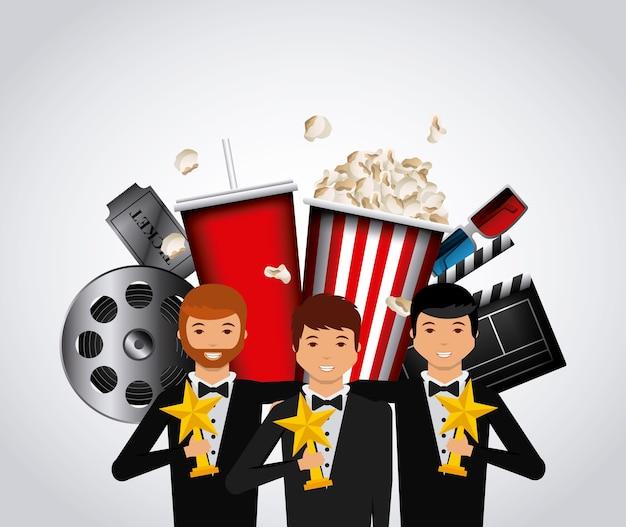 Schauspieler mit goldenen trophäen und kinobezogenen ikonen