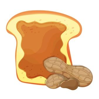 Scheibe brot oder toast mit erdnussbutter isolierte illustration