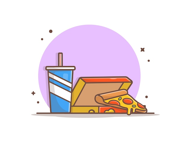 Scheibe der pizza im kasten mit sodaillustration