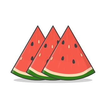 Scheibe wassermelone illustration. frische wassermelonen im flachen stil