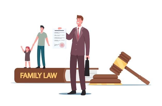 Scheidung, sorgerecht oder unterhaltskonzept. winziger vater-charakter mit kleiner tochter und anwalt bei huge gavel, familienrecht, richtergericht während der gerichtsverhandlung. cartoon-menschen-vektor-illustration