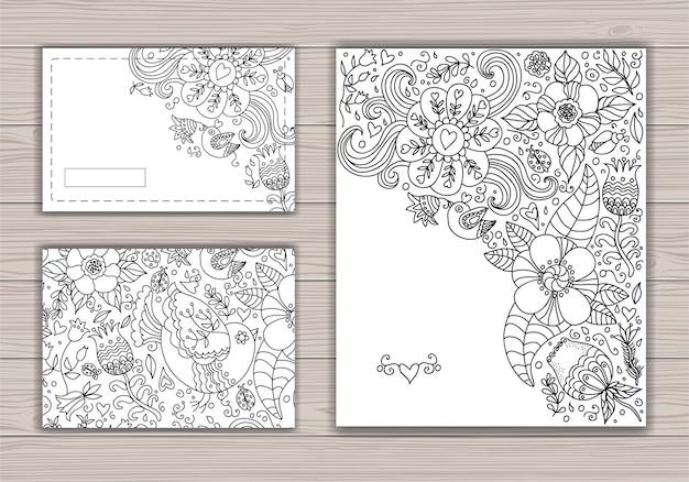 Schein-schwarzweiss-hochzeitskartensatz mit abstraktem hintergrund mit konturzeichnung von blumen und vögeln.