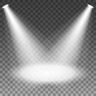 Scheinwerfer belichtet auf transparentem hintergrund