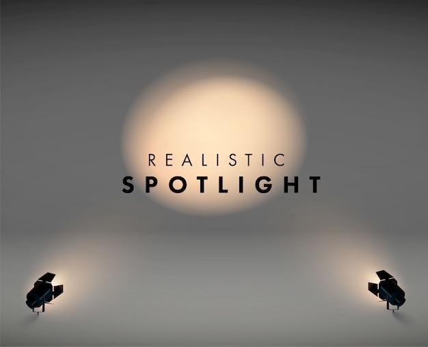 Scheinwerfer im realistischen licht des bodens 3d in der schwarzen farbe. jahrgang. abbildung eines projektors für das studio. video.