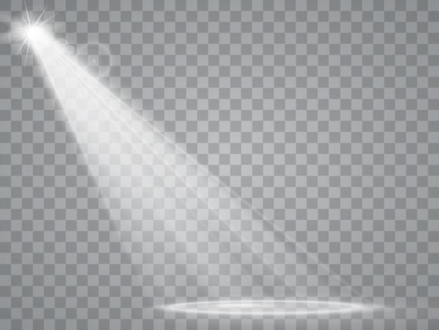 Scheinwerfer isoliert. glühender lichteffekt des vektors mit strahlen