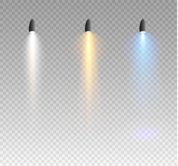 Scheinwerfer leuchtende lichteffekte isoliert auf transparentem hintergrund.
