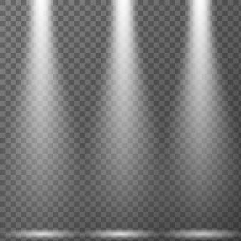 Scheinwerfer lokalisiert auf transparentem hintergrund. vektor lichteffekt