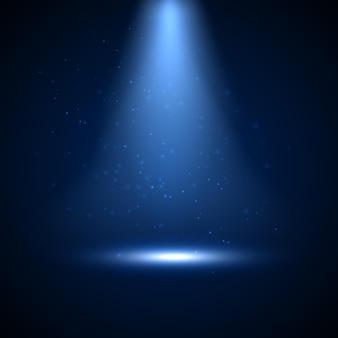 Scheinwerfer mit glänzendem licht und partikeln. festlich beleuchtete glühhintergrundgestaltung von scheinwerfer und bühne.