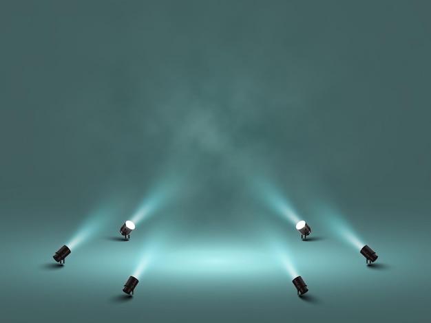 Scheinwerfer mit strahlend weißem licht, das bühnenillustration isoliert