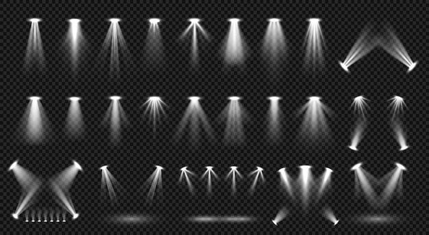 Scheinwerferbeleuchtung lokalisiert auf transparenter hintergrundvektorsammlung. helle szenenbeleuchtung