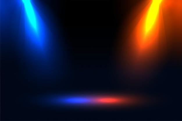 Scheinwerfereffekt mit blauem und orangefarbenem fokus