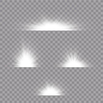 Scheinwerferlicht auf transparentem hintergrund. glühender lichteffekt. satz von blitzen, lichtern und funkeln auf einem transparenten hintergrund.