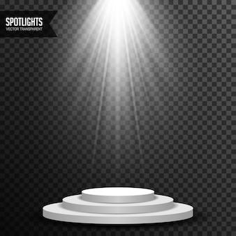 Scheinwerferlichtbeleuchtung mit dem runden podiumvektor transparent