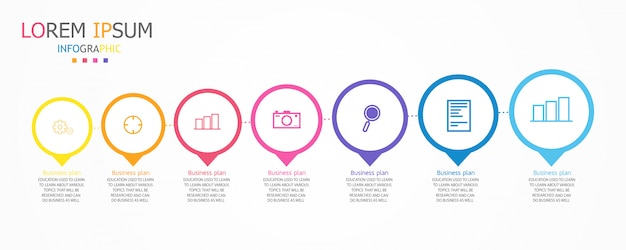 Schema für bildung und wirtschaft, das auch im unterricht verwendet wird, mit sieben optionen