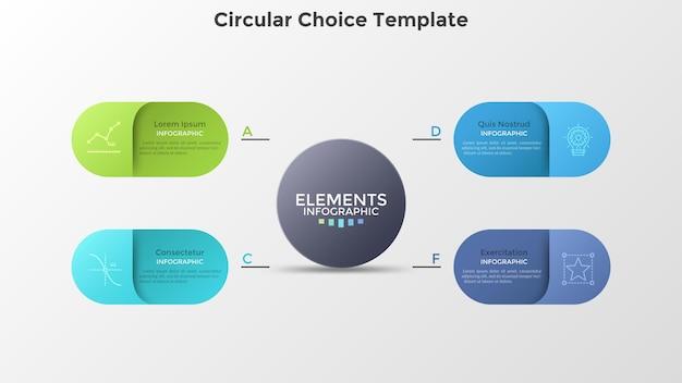 Schema mit vier bunten abgerundeten elementen, die den hauptkreis umgeben. konzept von 4 geschäftsoptionen zur auswahl. kreative infografik-design-vorlage. realistische vektorillustration für die präsentation.