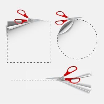 Schere mit roten kunststoffgriffen schneidet runde und quadratische aufkleber. leerer weißer werbegutschein aus papier geschnitten. vektor-illustration