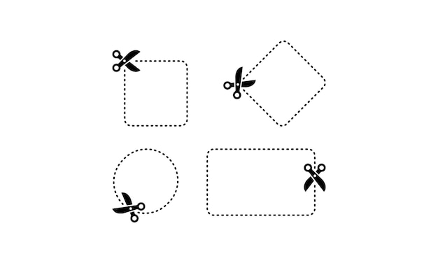 Schere schneidet entlang des kontursymbols in schwarz. vektor auf weißem hintergrund isoliert. eps 10.