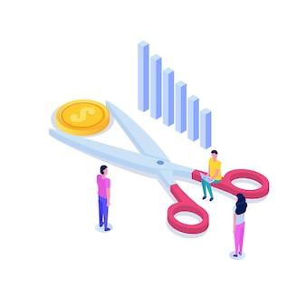 Schere schneidet isometrisches konzept der dollarmünze. verkauf, rabattsymbol. kostensenkung oder preissenkung.