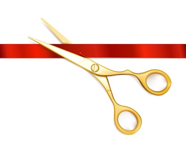 Schere schneidet rotes band. offene zeremonie schere, event feier, geschäftsbeginn, neuanfang. schere und rote ribbo-vektorillustration