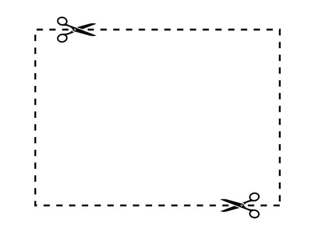 Scheren schneiden linien. schere, die eine quadratische linie schneidet. schneiden sie die coupon-rand-rechteckform aus. coupon schere schnittset