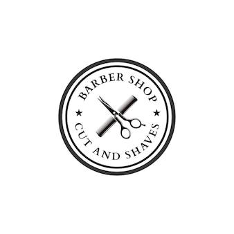Scheren- und kamm-vintage-logo-friseursalon