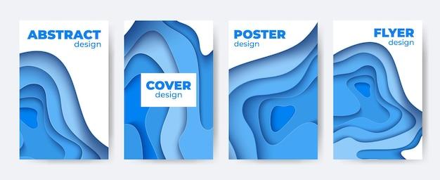 Scherenschnitt abstraktes poster-set. 3d papier bunter ausschnitt flyer hintergrund. vektorplakat