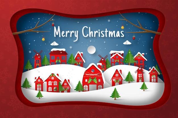 Scherenschnitt-illustration des dorfes in der weihnachtsnacht