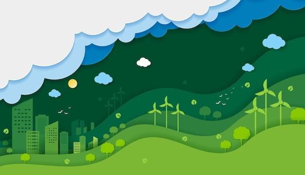 Scherenschnitt von ökologie und umweltschutz kreatives ideenkonzept grüne öko-stadtstadt