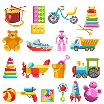 Scherzen sie spielwaren oder kinderspielzeugvektor lokalisierte ikonen