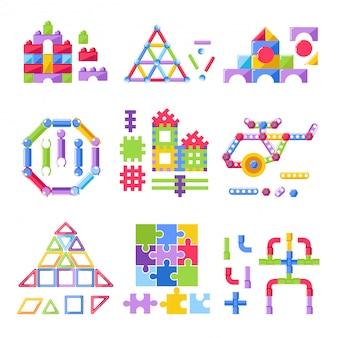 Scherzen sie spielzeugerbauer-bausatz für flache ikonen des kinderspielzeugvektors