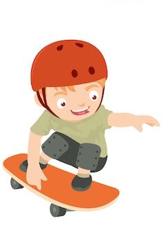 Scherzt das spielen des skatebrettes, das roten sturzhelm trägt
