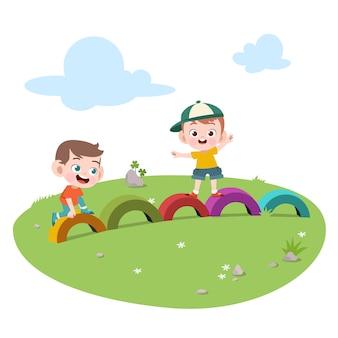 Scherzt die kinder, die spielplatzillustration spielen