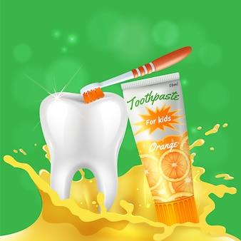 Scherzt realistische zusammensetzung der zahnpflege mit dem weißen glänzenden gesunden zahn, der mit zahnpasta mit orangengeschmack geputzt wird